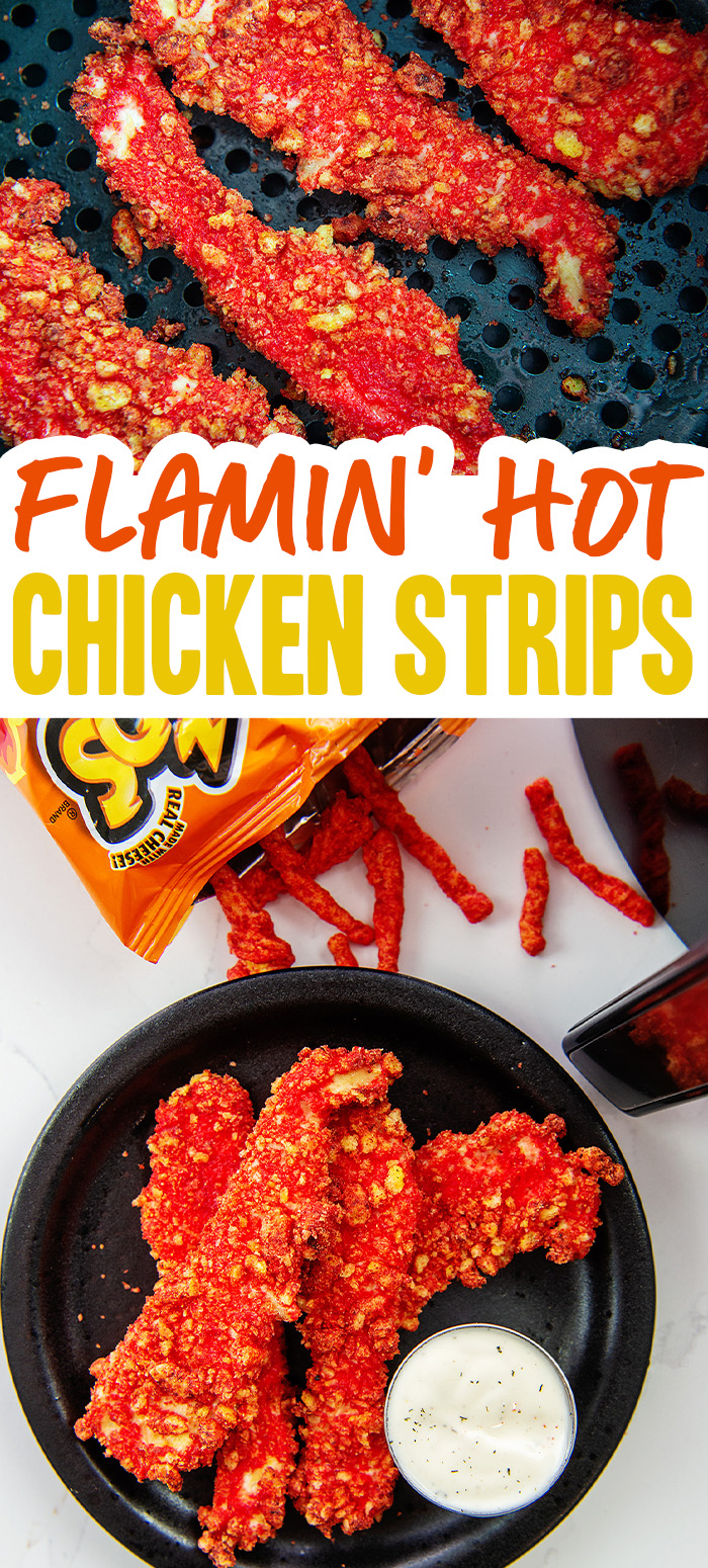 These chicken strips are coated in flamin hot Cheetos for a great flavor and a crispy breading to liven up your chicken tenders a little bit.  #chixstrips #airfryer #recipes