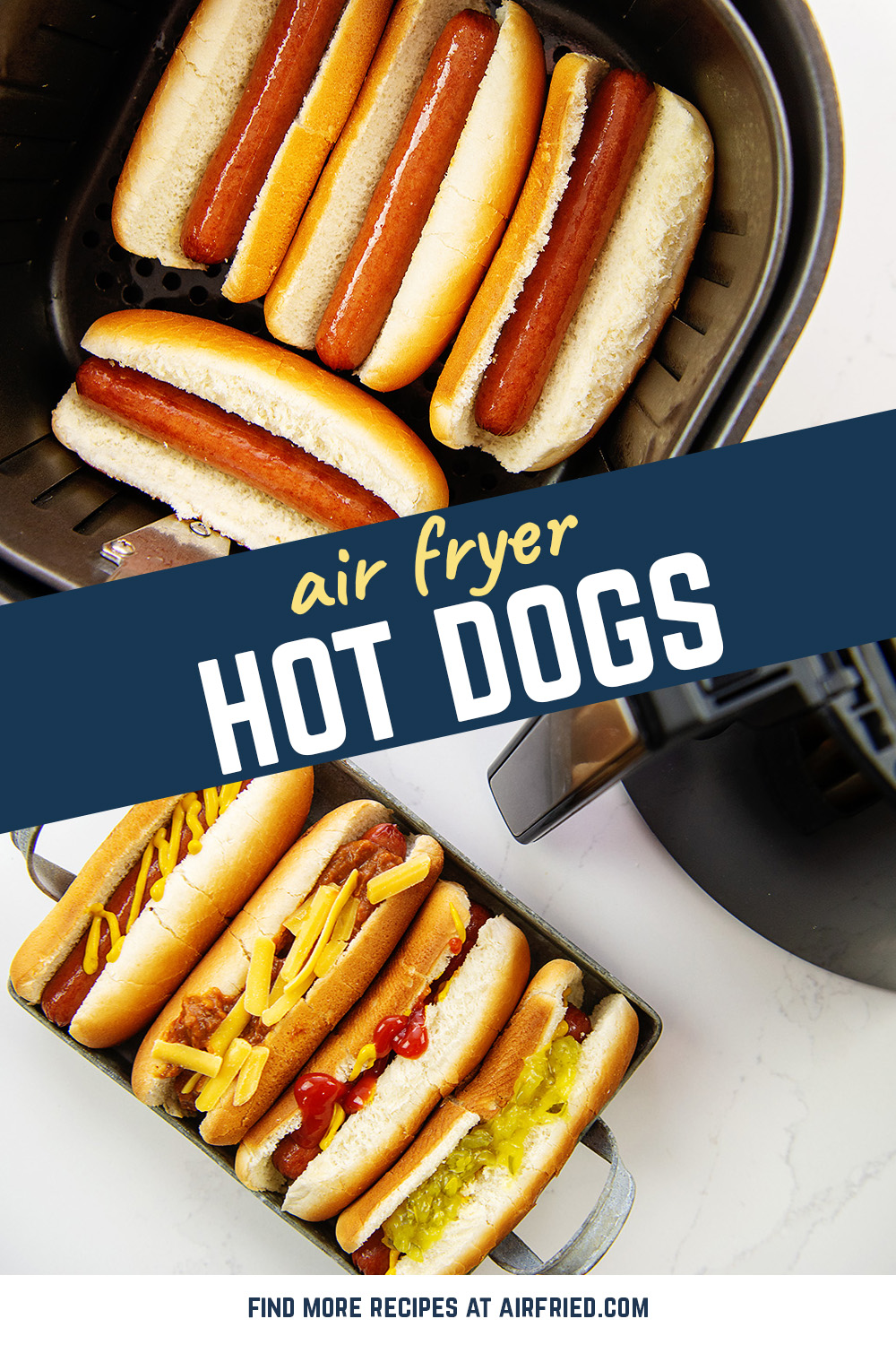 Perfectly cooked hot dogs in the air fryer! Toast your buns in the air fryer, too! So easy!