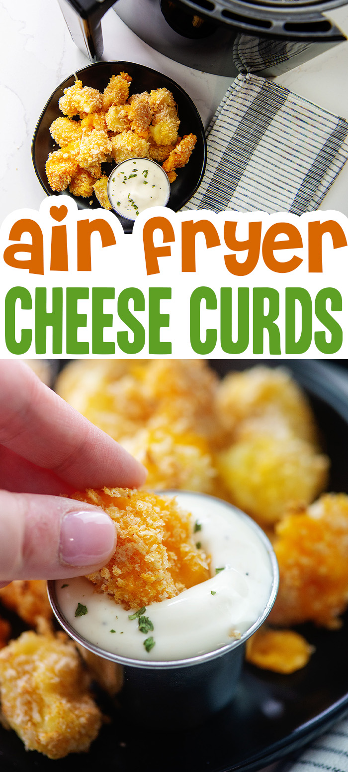Easy cheese curds made from scratch are possible in the air fryer!  Serve them with ranch dressing for a fantastic appetizer!  #cheeseballs #airfried #recipes