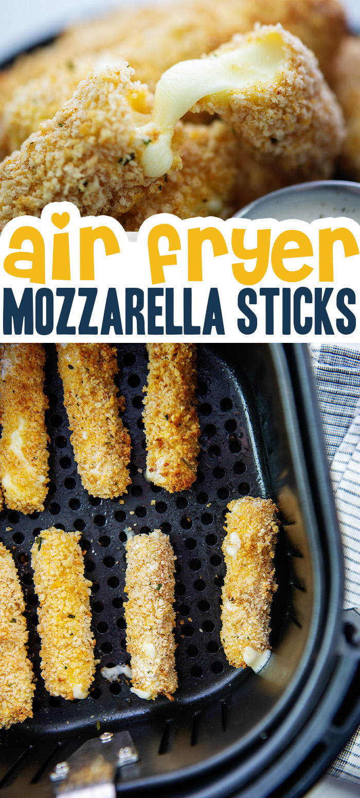 These crispy mozz sticks were made in the air fryer with no grease splashing all over!  #cheesesticks #airfried #appetizers