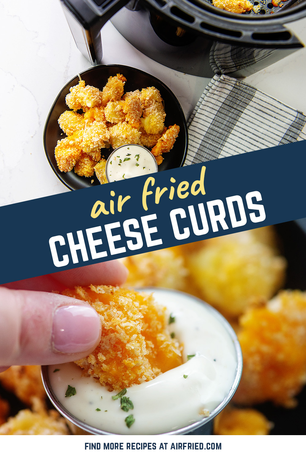 Cheese curds are coated in panko and air fried for a classic favorite appetizer! #airfryer #cheeseballs #friedrecipes