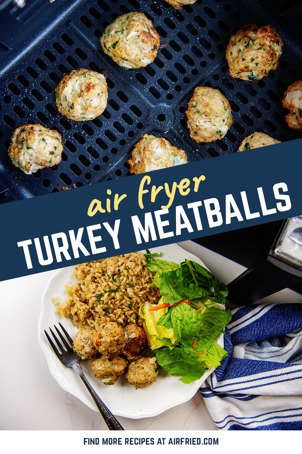 Air fryer turkey meatballs make for a simple lunch that is fantastic alongside many different side dishes.