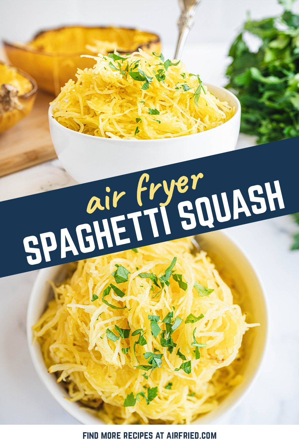 Spaghetti squash in the air fryer is a perfect way to easily cook a low-carb base for your pasta dish.