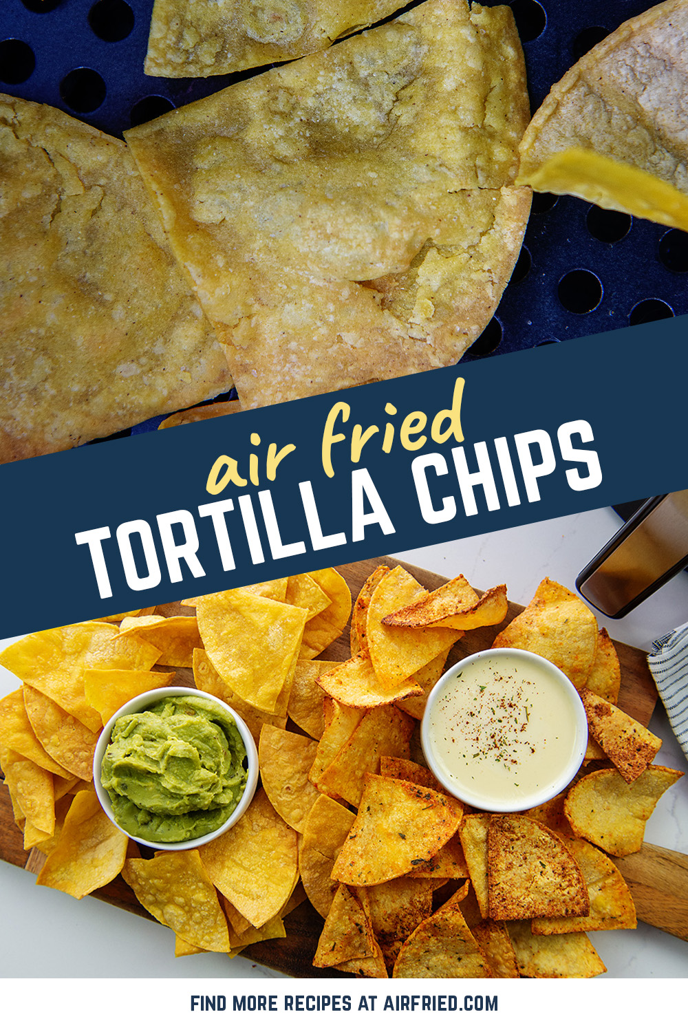 Crispy tortilla chips are a breeze to make in the air fryer! #coolranch #snackrecipes #airfried