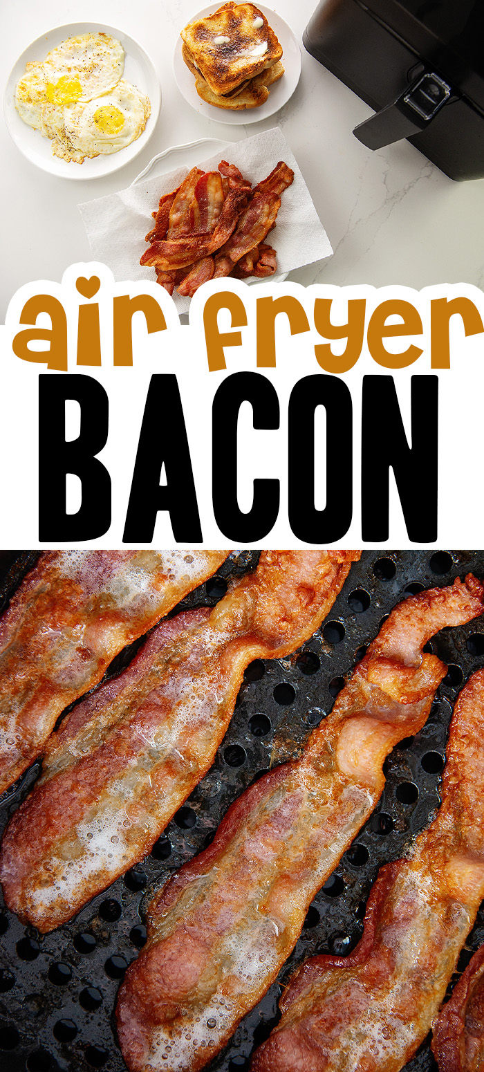 Crispy bacon is so easy to make in the air fryer! It cooks in about 8 minutes with minimal clean up!