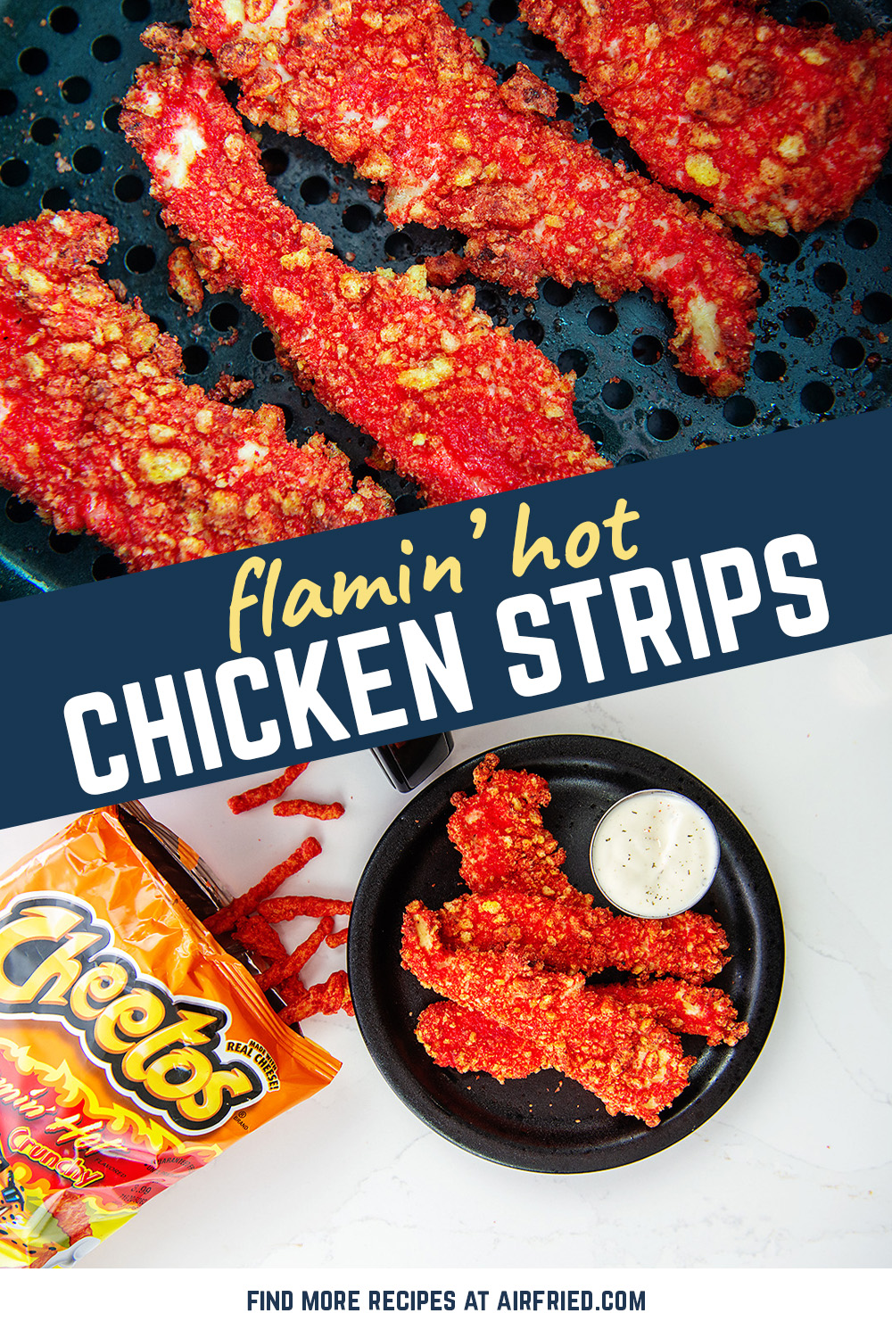 Favorite snack with my favorite lunch!  These chicken strips have a bit of spice and a great crunch in every bite! #flaminhotcheetos #chickentenders #airfryer