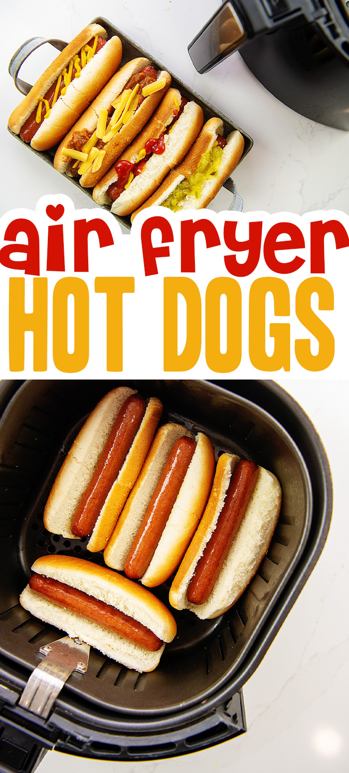 Skip the grill and toss your hot dogs in the air fryer instead. Ready in just a few minutes and minimal clean up!