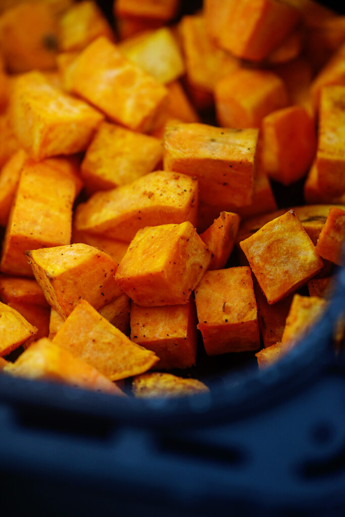 Close up of cubed sweet potatoes