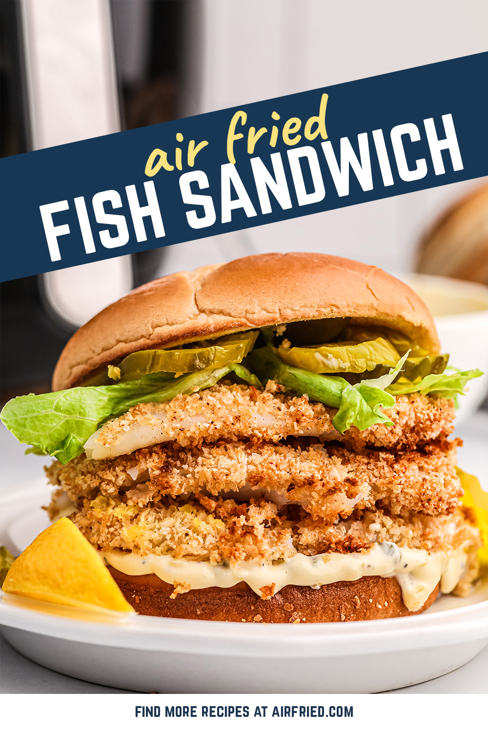 This amazing fish sandwich has a homemade breading, is cooked in the fryer to perfection, and has a super easy cleanup!