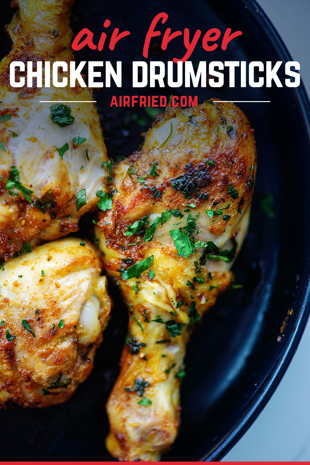 These air fryer chicken legs turn out so tender and juicy inside and nice and crisp on the outside!