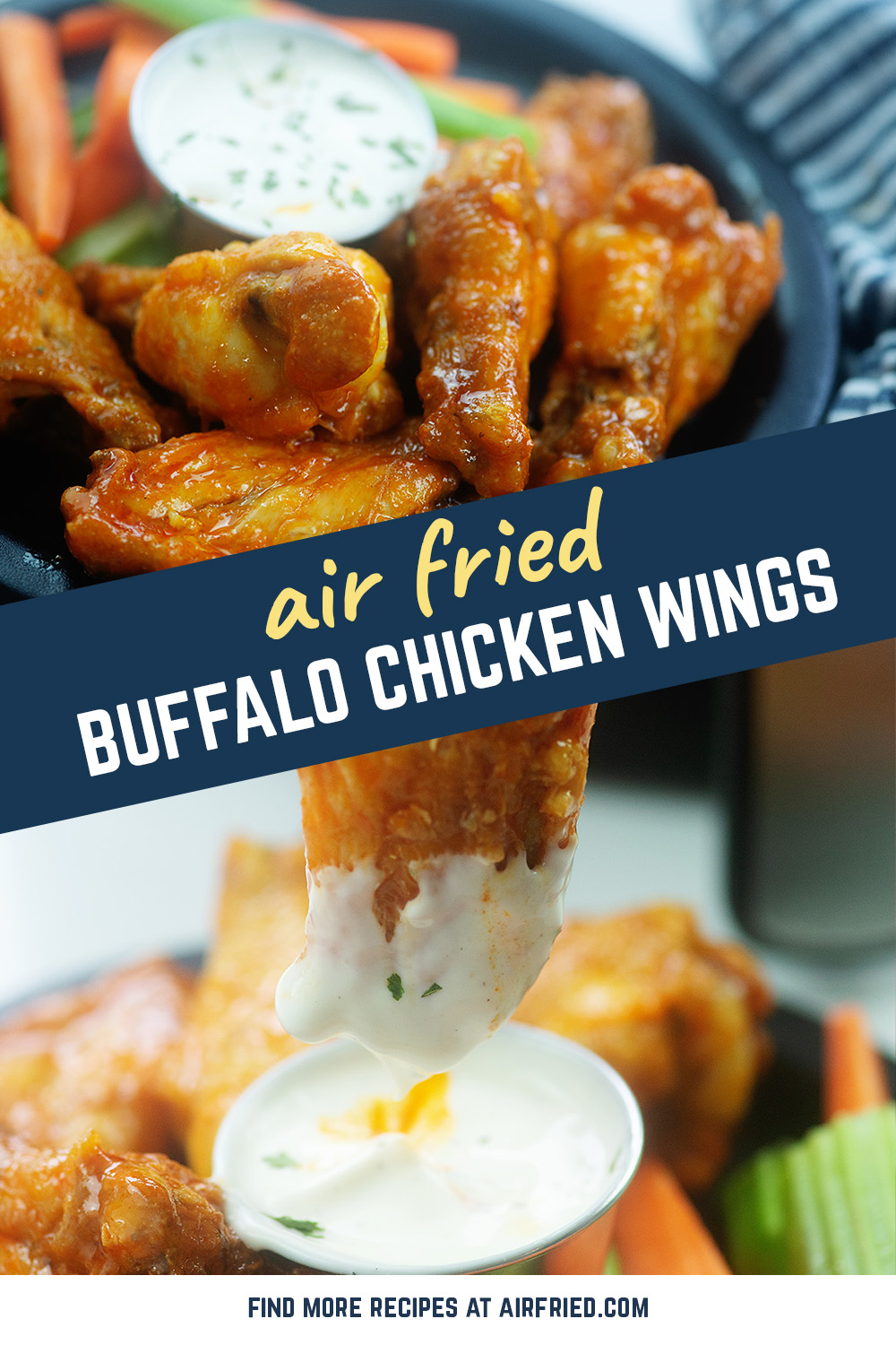 Frozen wings are excellent from the air fryer.  Toss them in your favorite buffalo sauce, or use our homemade version!