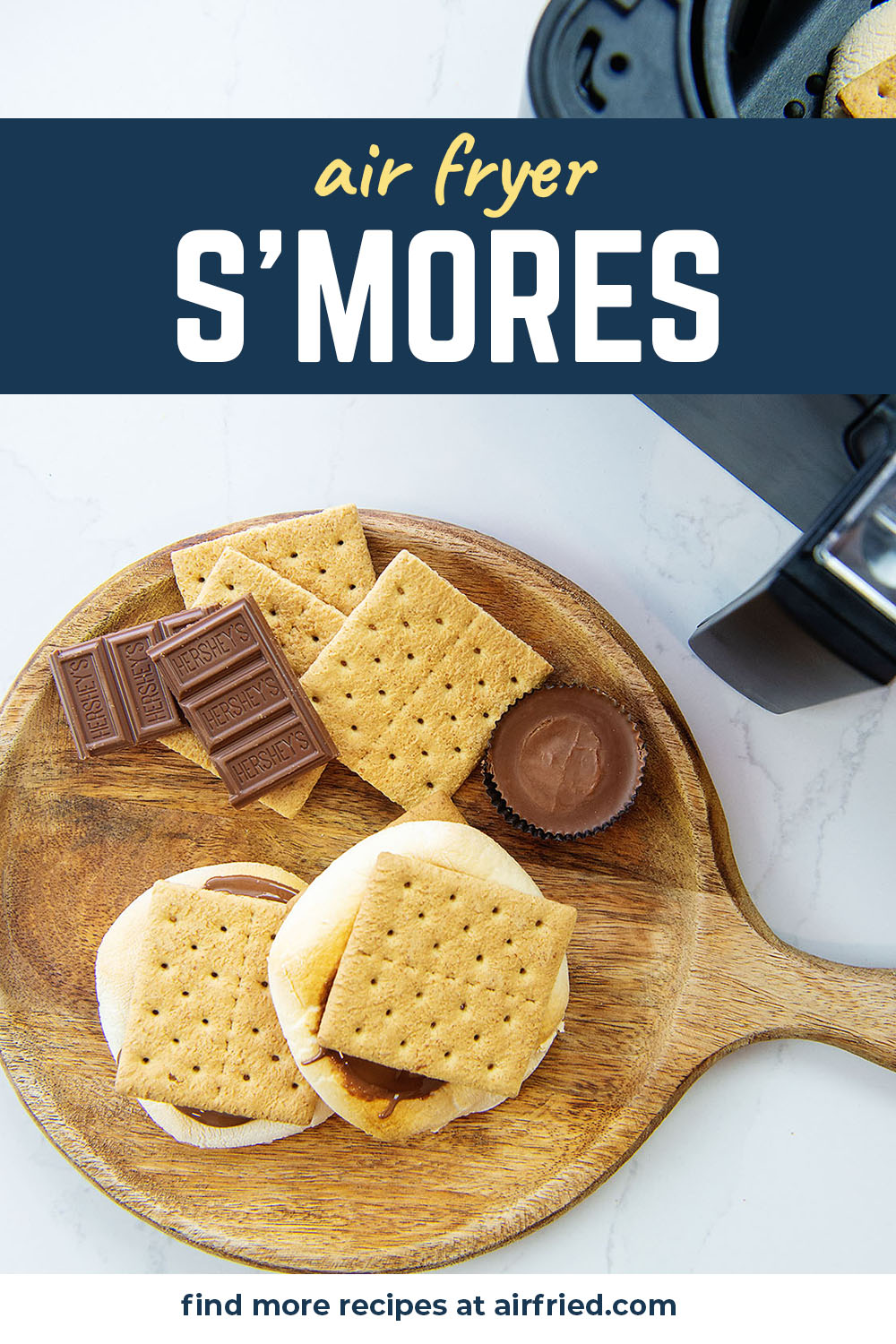 These indoor s'mores are made in the air fryer! We use a mix of Hershey's bars and Reese's for a fun twist on s'mores!
