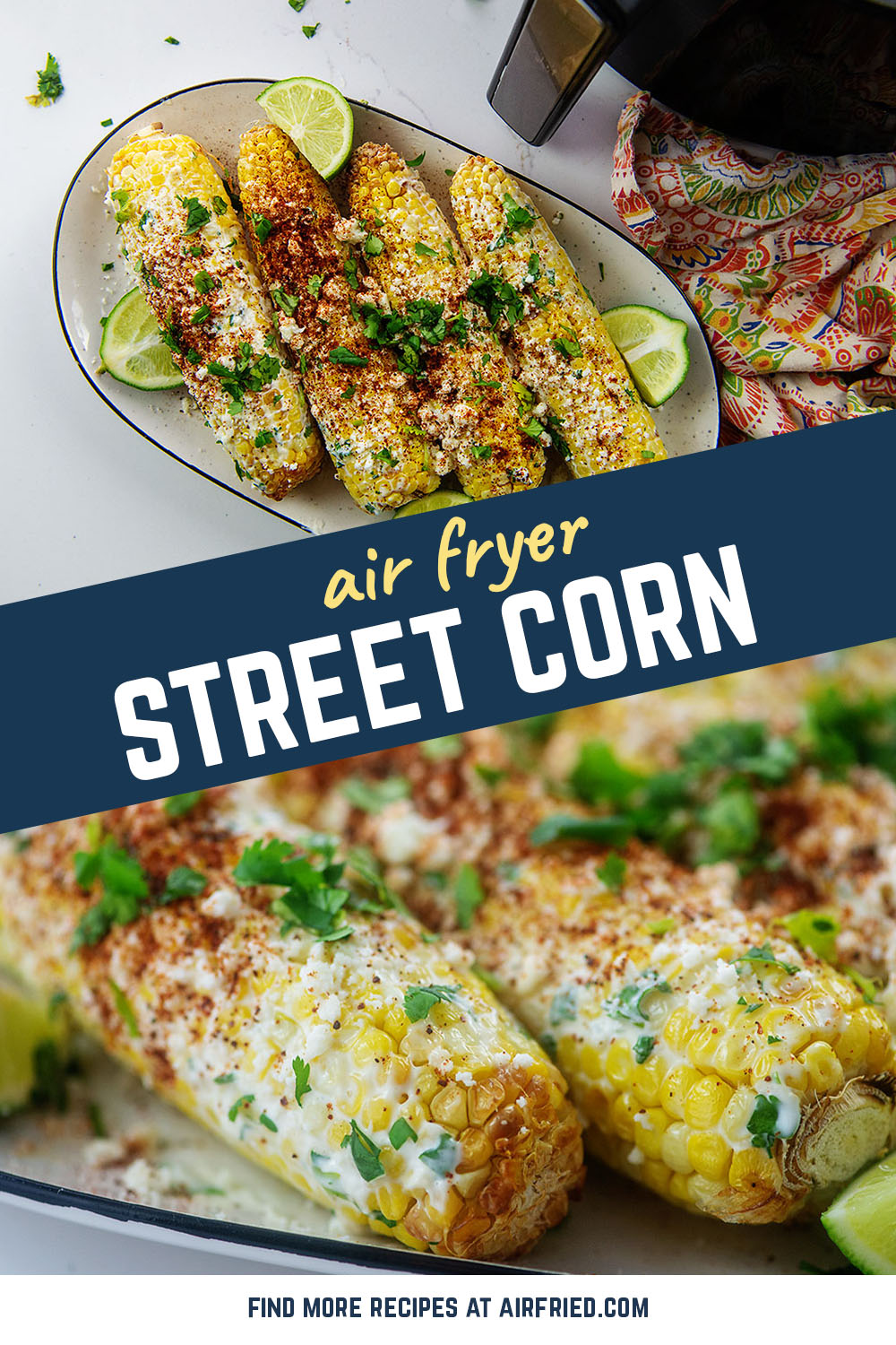 This is a simple street corn recipe using the air fryer and a creamy coating mixed with Mexican-inspired seasonings.