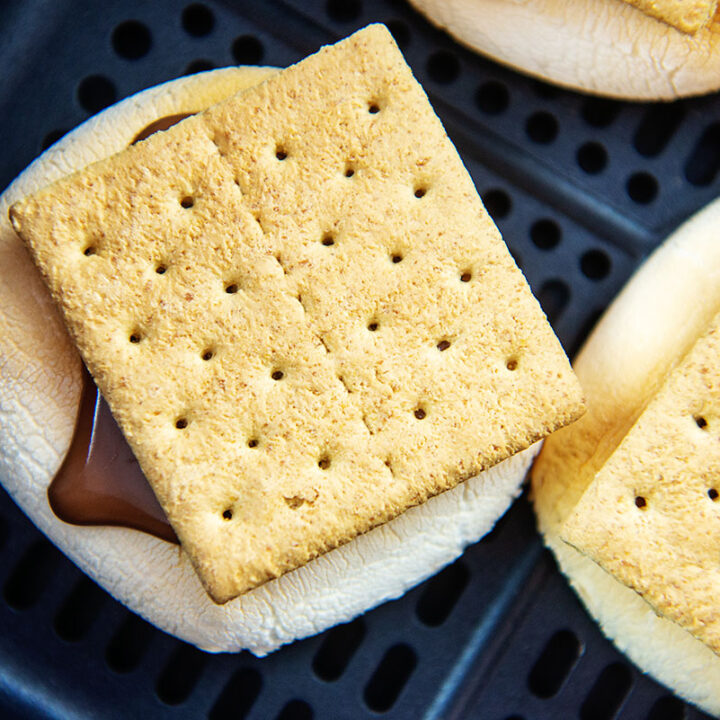 Close up of a cooked s'more