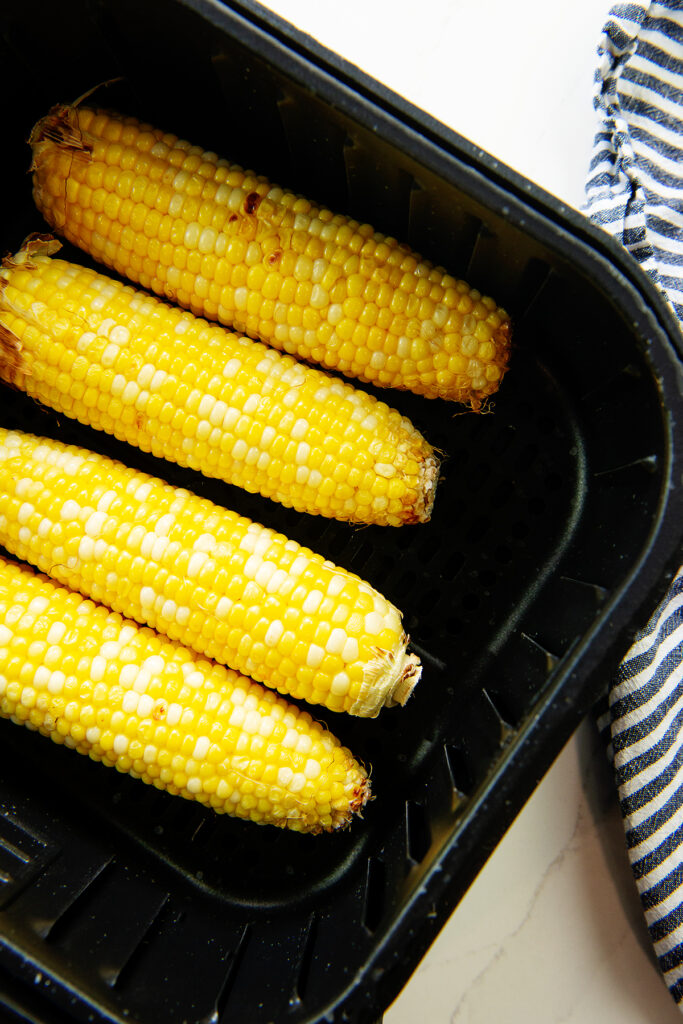 corn on the cob in an air fryer basket