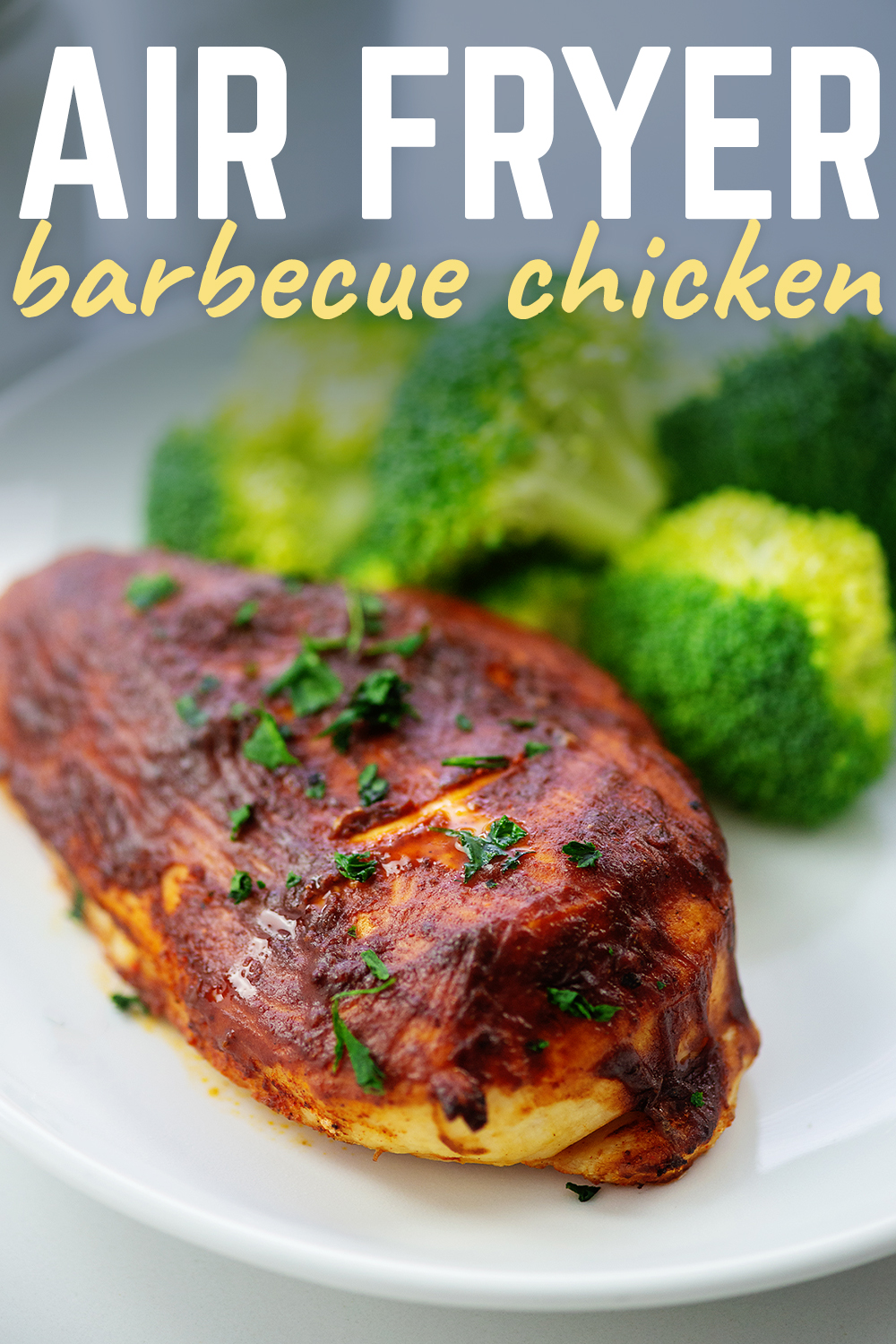BBQ chicken is as good as grilled when you cook it in the air fryer.  Try this recipe for yourself!