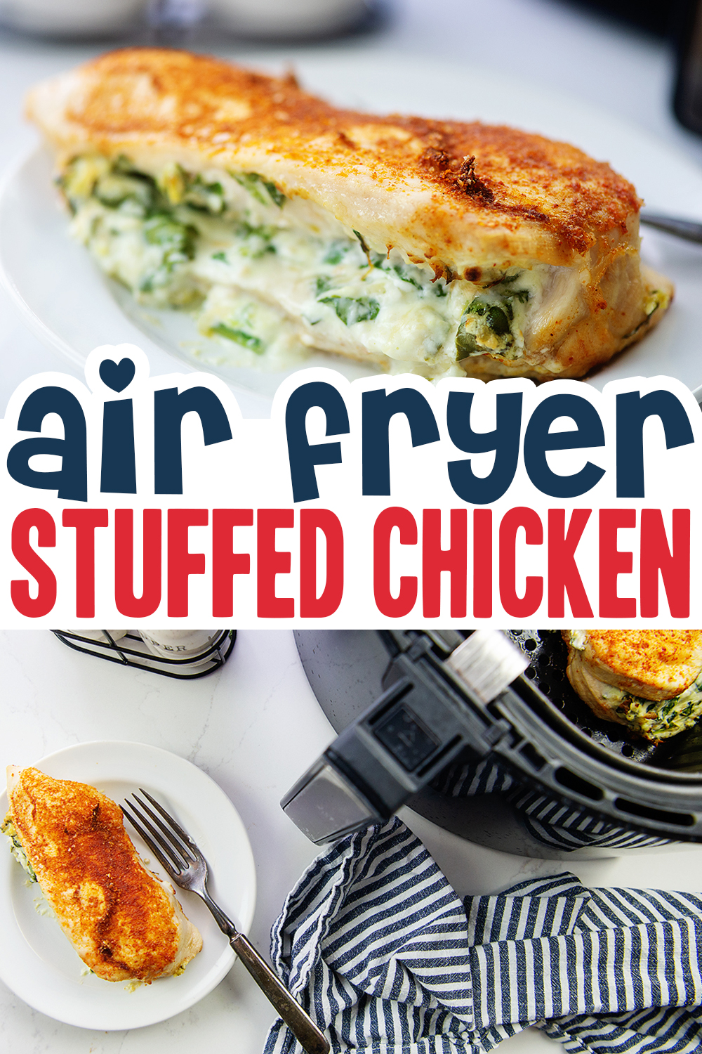 We loaded up our air fried chicken breast with a creamy, cheesy spinach filling.  These were amazing!