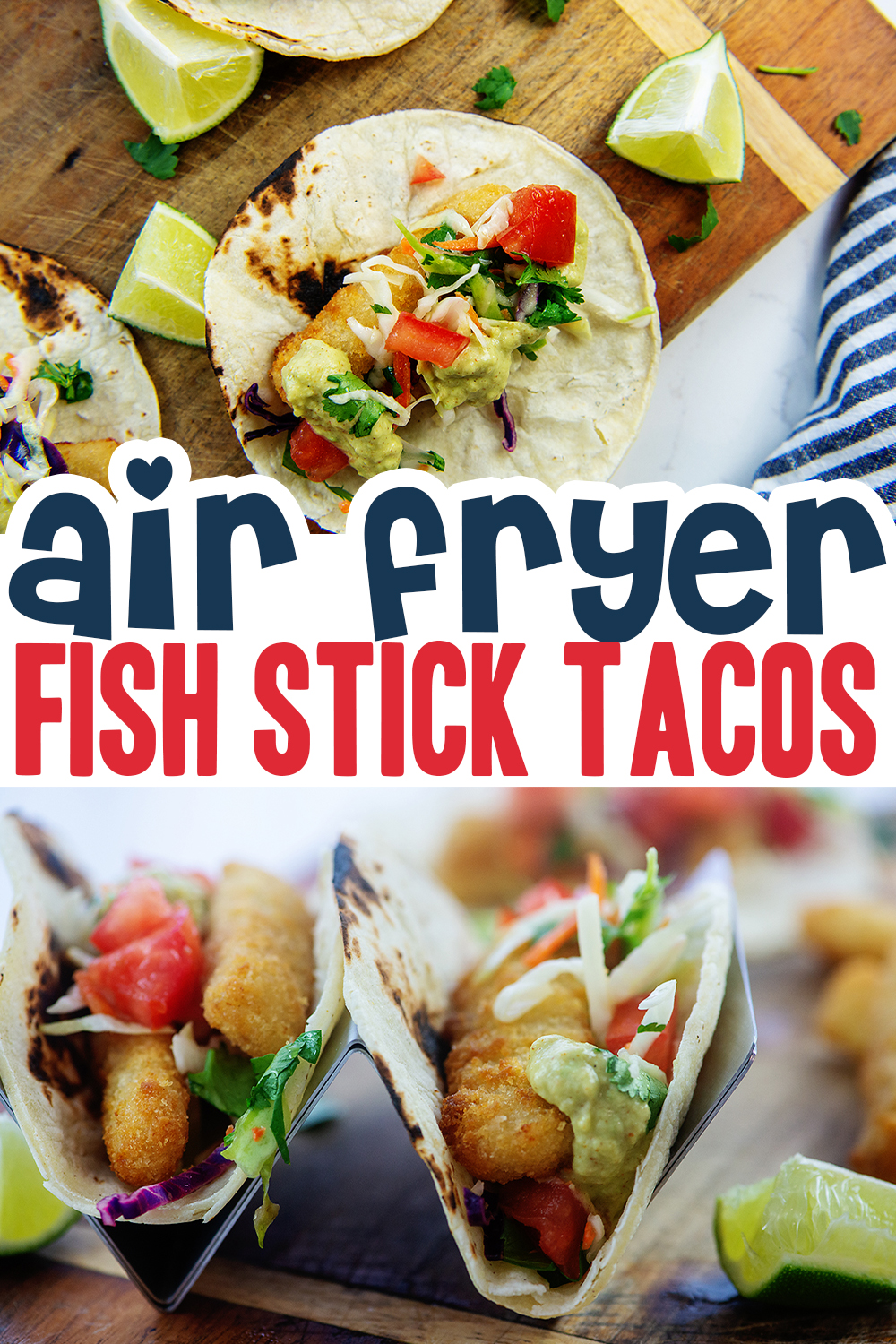 Crispy and coated with perfect toppings, these fish tacos are a great lunch or dinner!  They are so easy to make you will want them often!