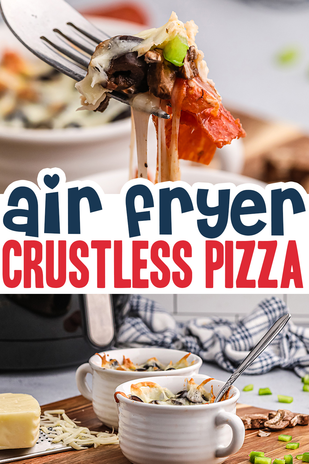 We are loving this keto friendly crustless pizza to feed us our favorite pizza toppings!