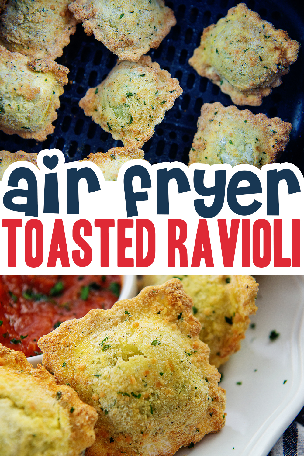 Toasted Ravioli is the ultimate snack or appetizer! Make it at home in the air fryer in about 10 minutes.