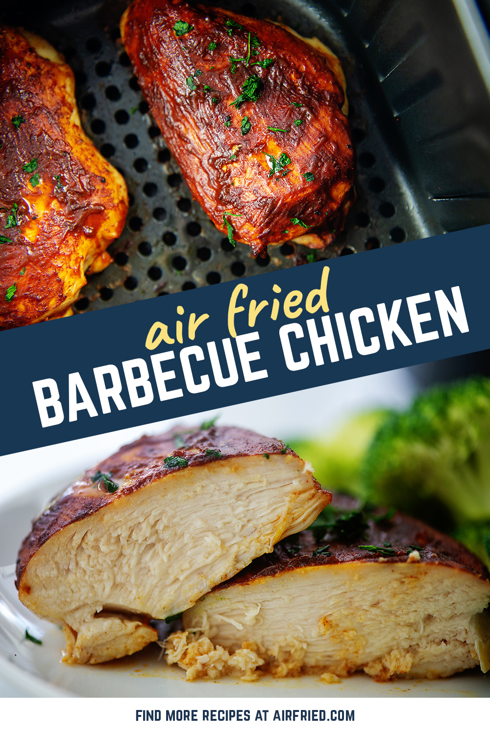Tender, juicy, bbq chicken is easy to make in the air fryer!