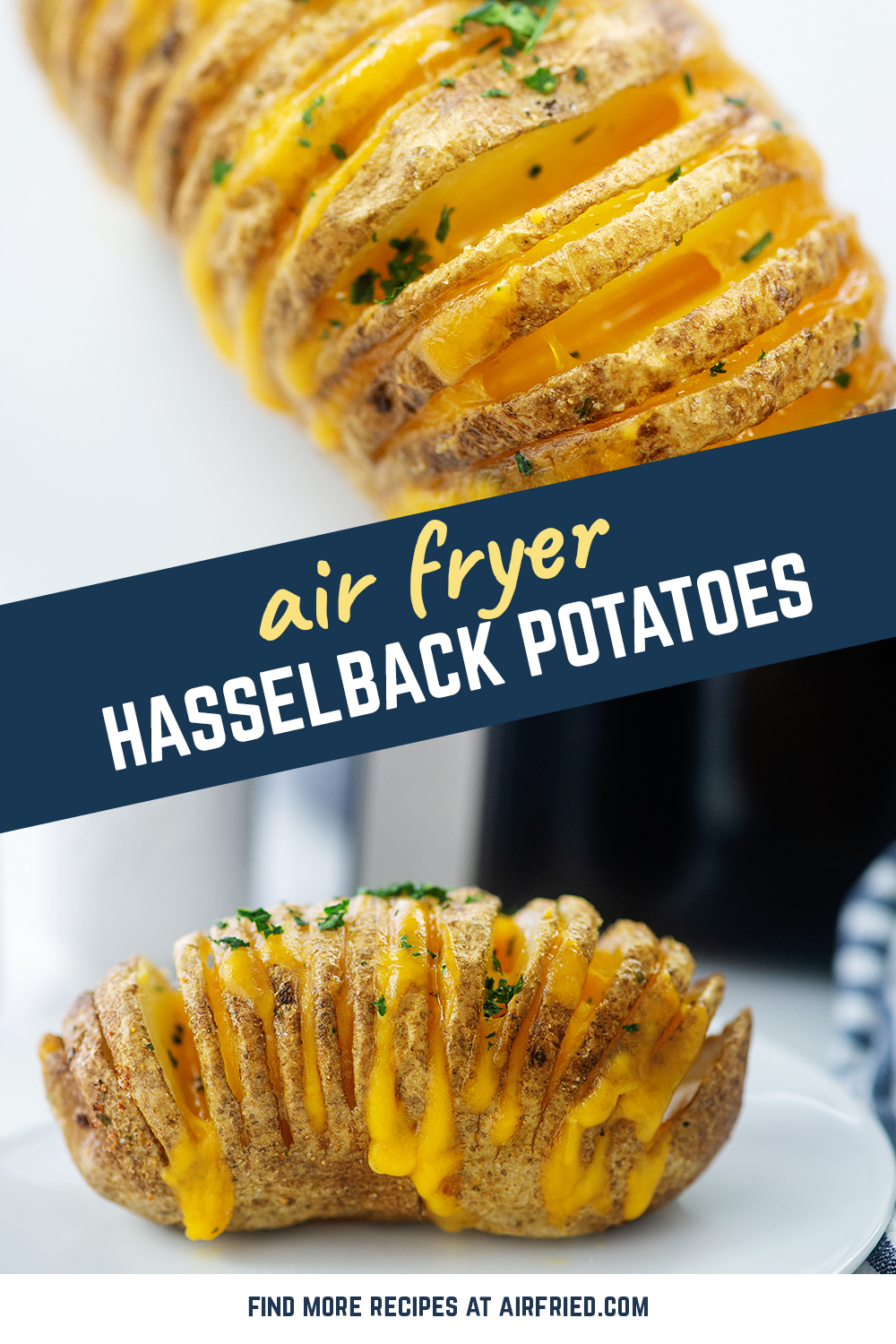 Easy cheesy hasselback potatoes! These cook in the air fryer in about 45 minutes.