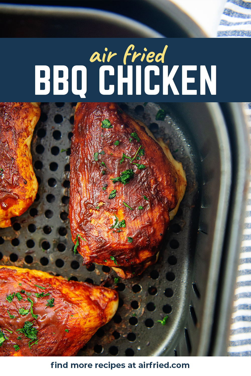 We used our air fryer to make this tasty BBQ chicken.  We loved the taste, the texture, and the clean up.