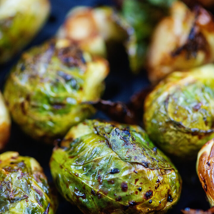 Close up of cooked brussels sprouts