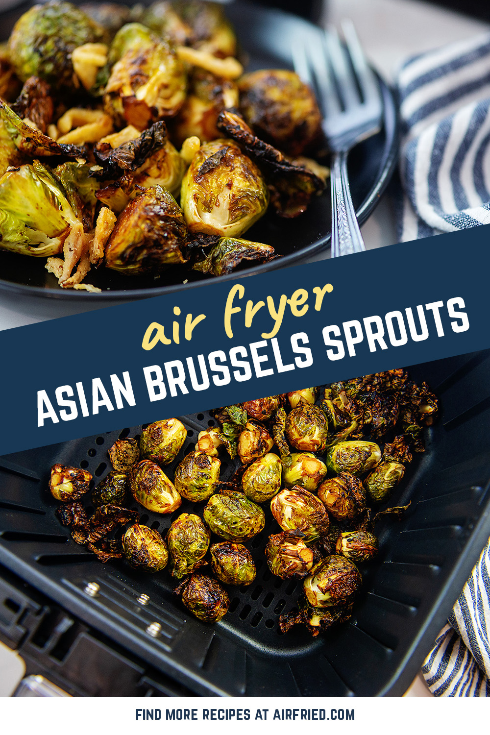 You need to get this recipe for crispy brussels sprouts seasoned with honey, garlic and other Asian inspired flavors!