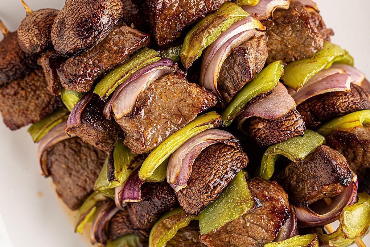 Close up of steak kabobs