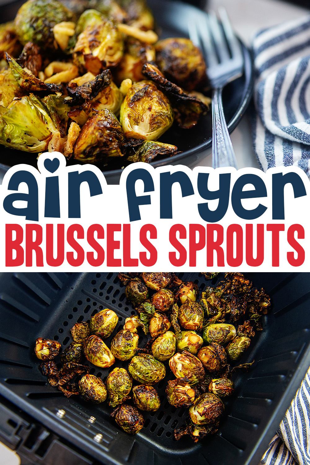 Our Asian Brussels sprouts recipe in the air fryer cooks in 15 minutes!