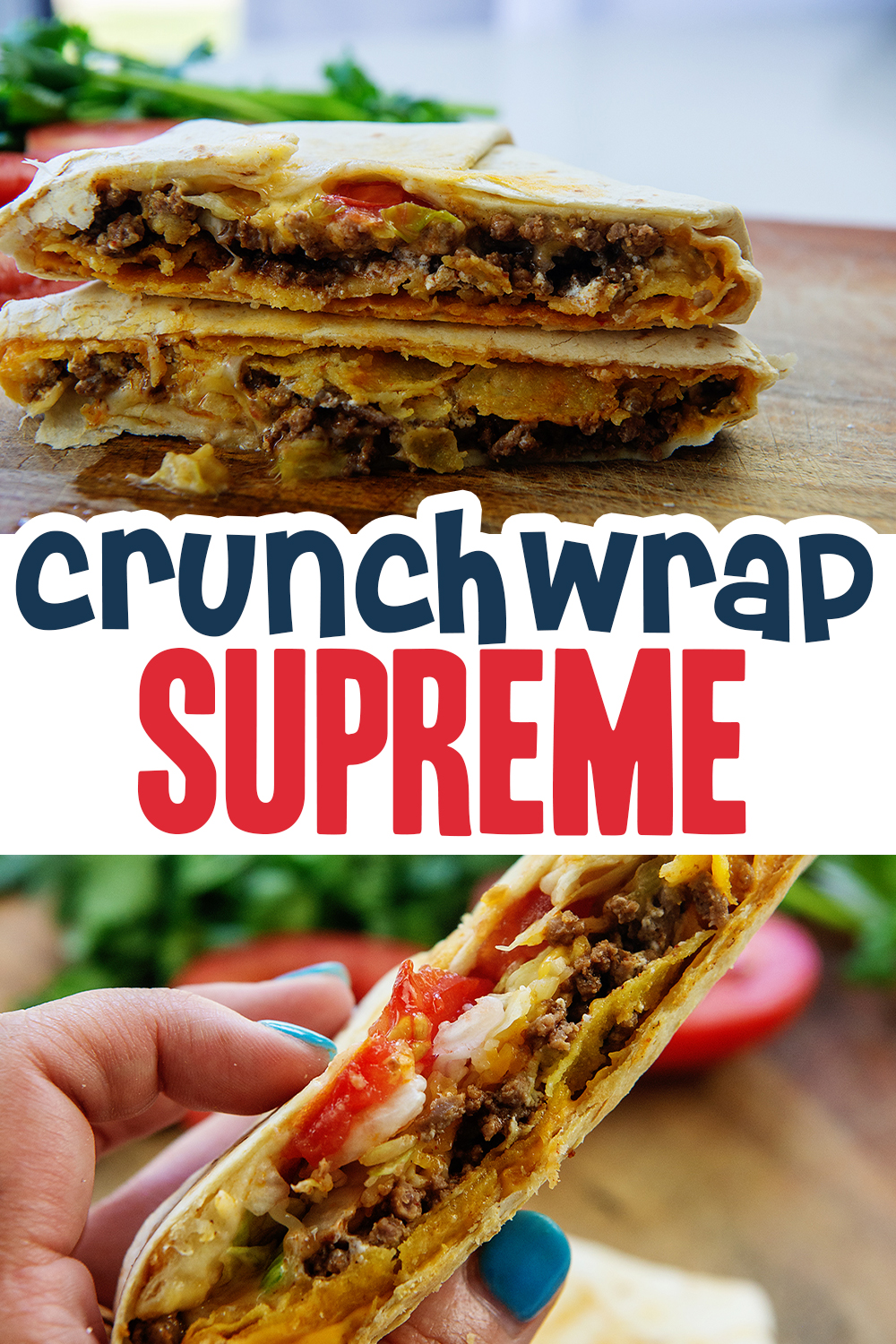 We love these air fried crunchwrap supremes!  They are a copy cat recipe from Taco Bell, but totally customizable as they are homemade!