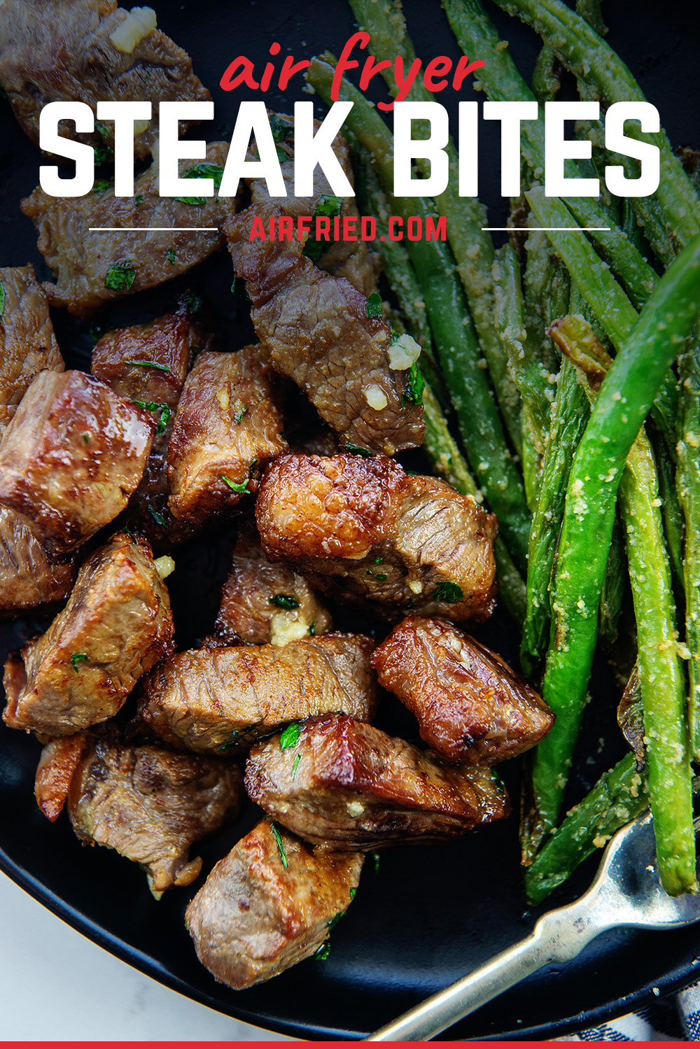 These steak bites are a great pairing with low carb side dishes for a keto friendly meal option.  The cook so evenly in the air fryer, everyone will love them!