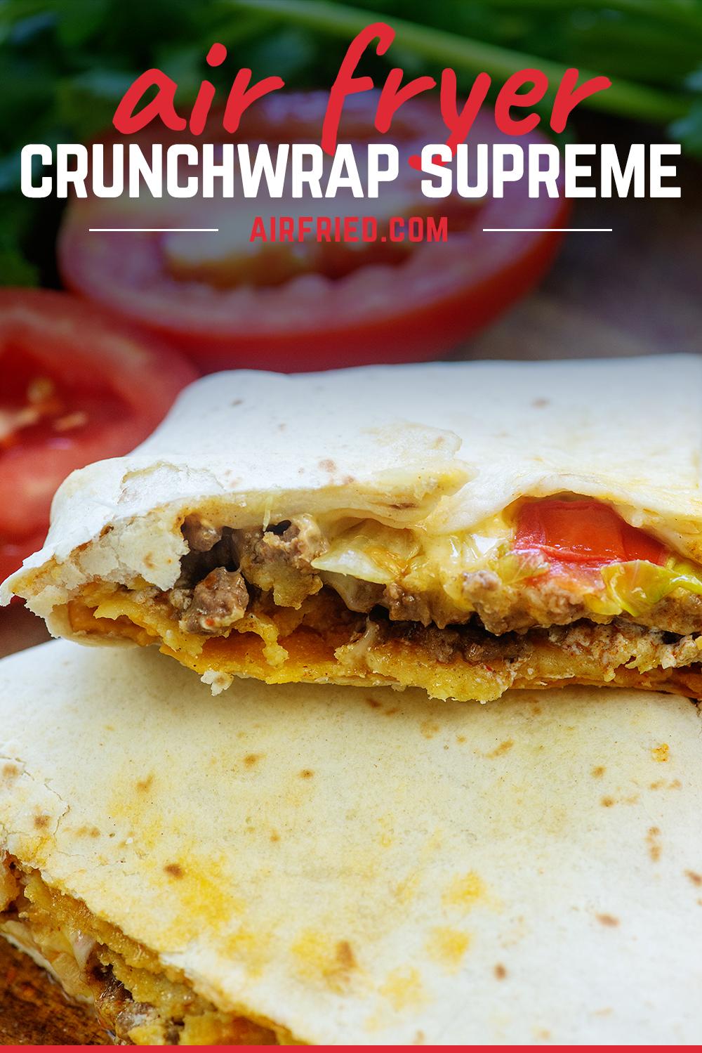 Close up of a split crunchwrap supreme