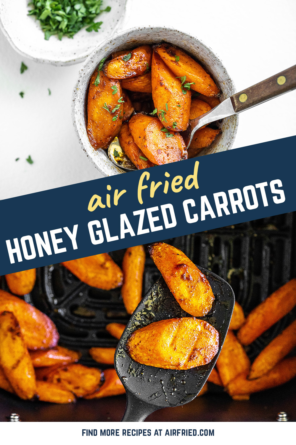 We are loving these air fryer carrots with a unique spiced hone glaze coating all over them!