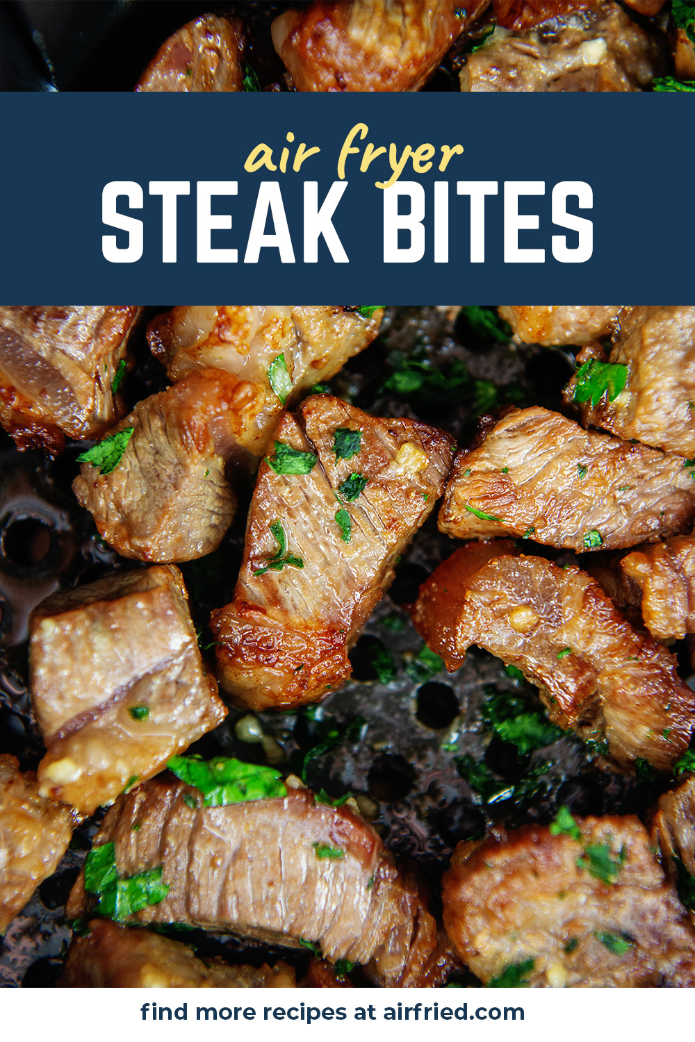 These steak bites  are well seasoned and perfectly cooked in the air fryer!