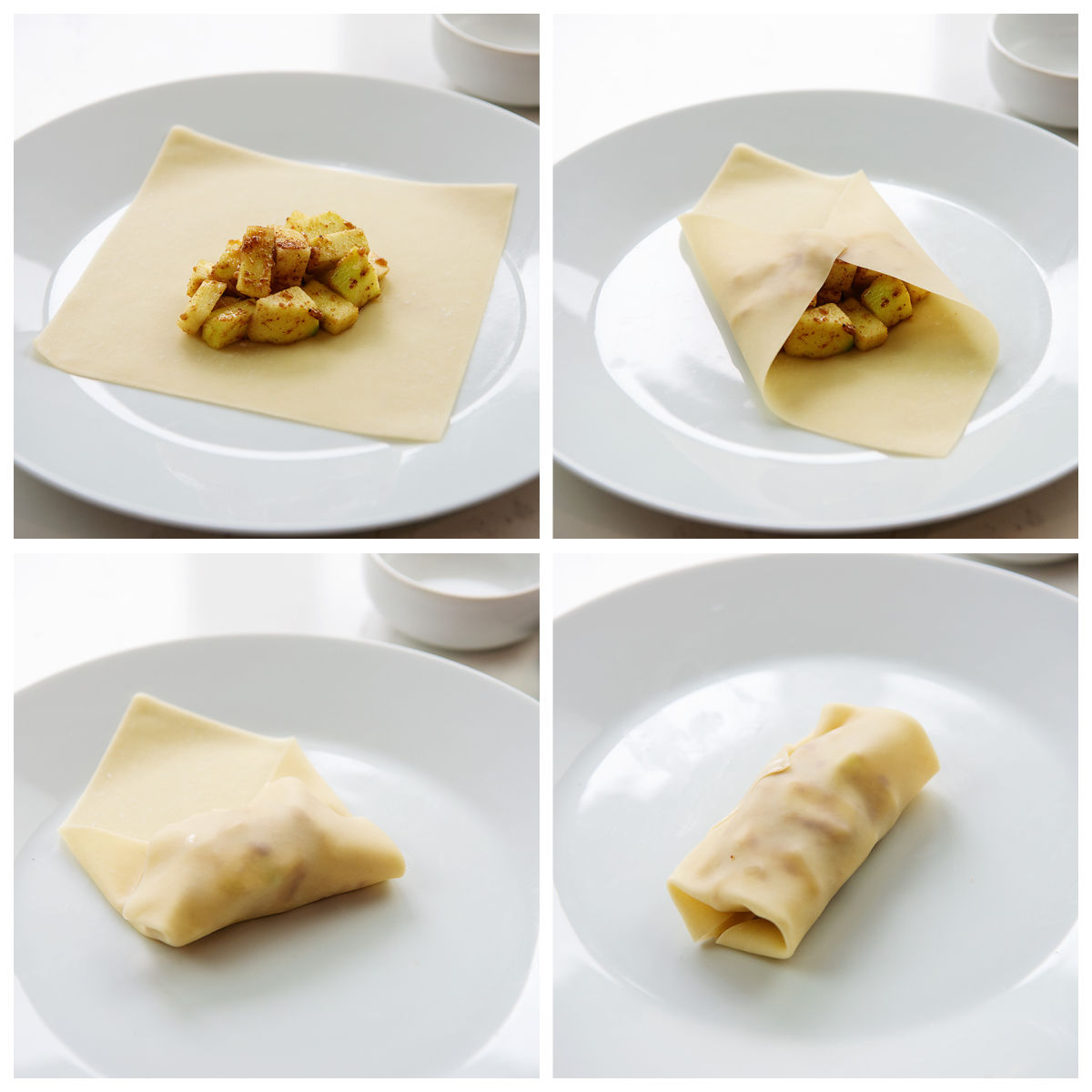 Collagage of apple cubes being rolled into an egg roll wrapper