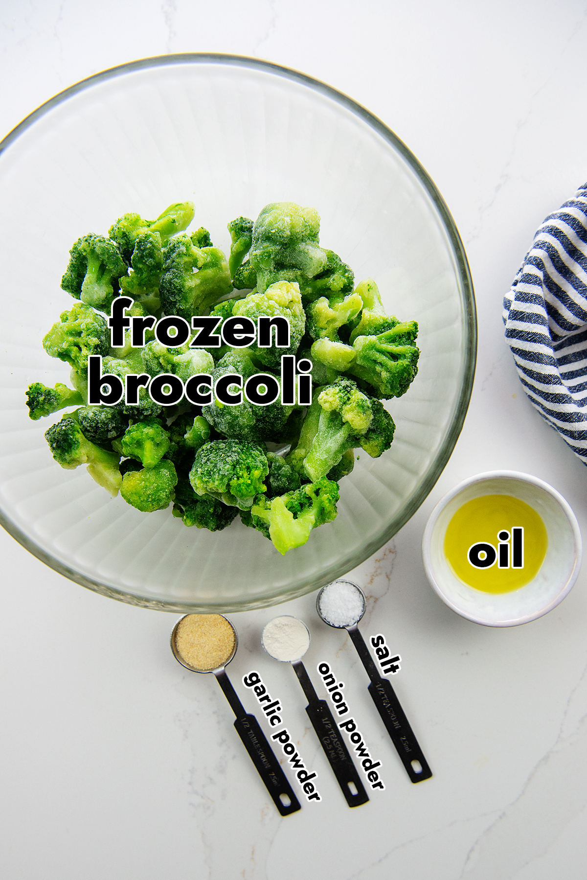 ingredients spread out for cooking broccoli