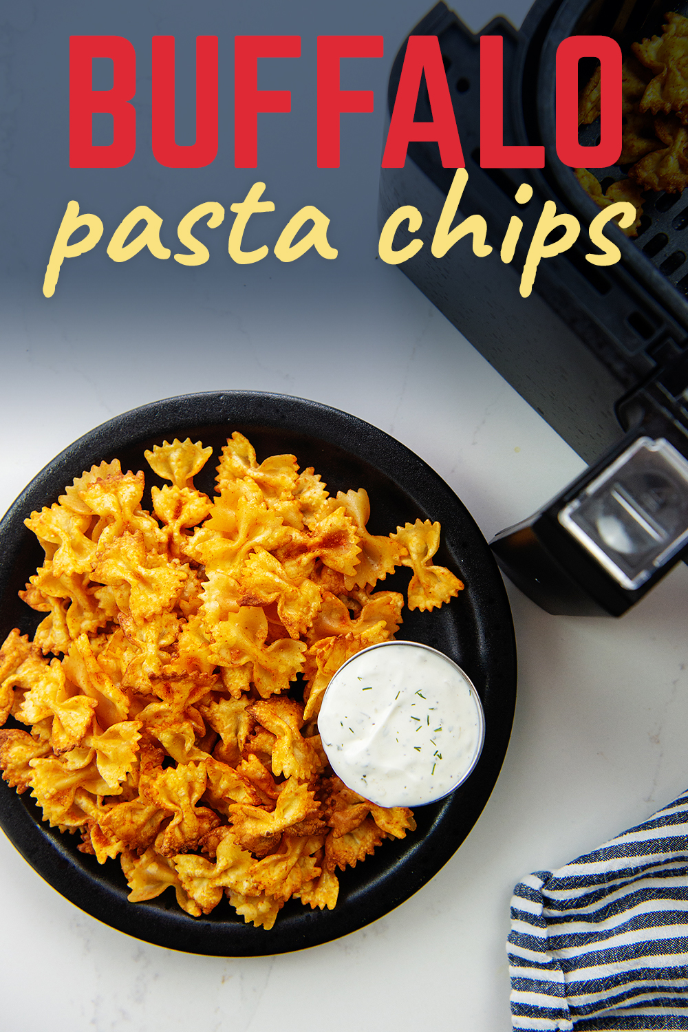 Crispy pasta chips seasoned with buffalo sauce make the ultimate spicy snack!
