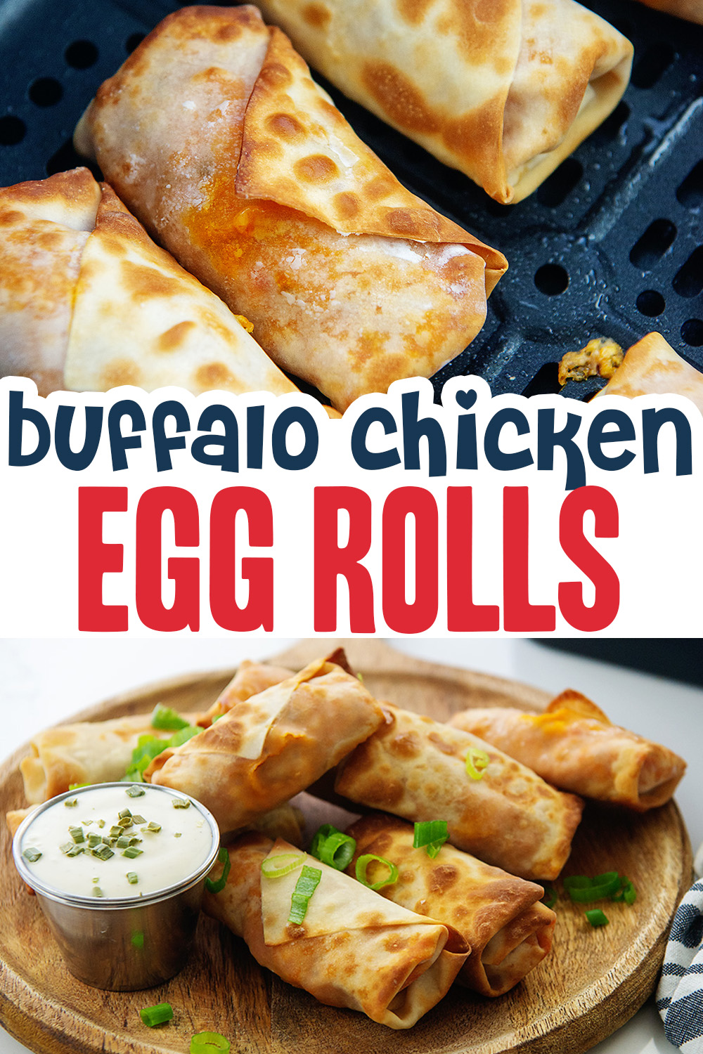 Our buffalo chicken egg roll recipe uses the air fryer to keep things easy and clean.  The filling is only mildly spicy, but you can make it hotter if you want.  Tips in the recipe!