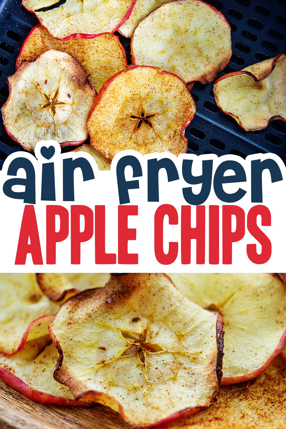 It is super easy to dehydrate these apple chips in your air fryer.  Add a bit of cinnamon, some salt, and you will be ready to snack in 10 minutes!