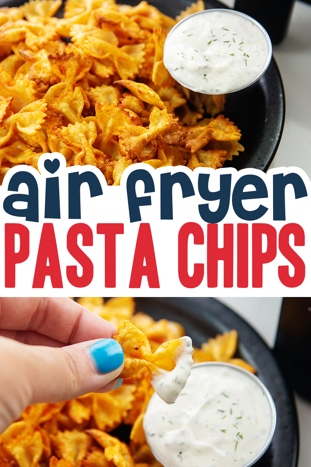 This viral TikTok trend is so fun to make! Pasta chips in the air fryer...we seasoned them with wing sauce and ranch dip!