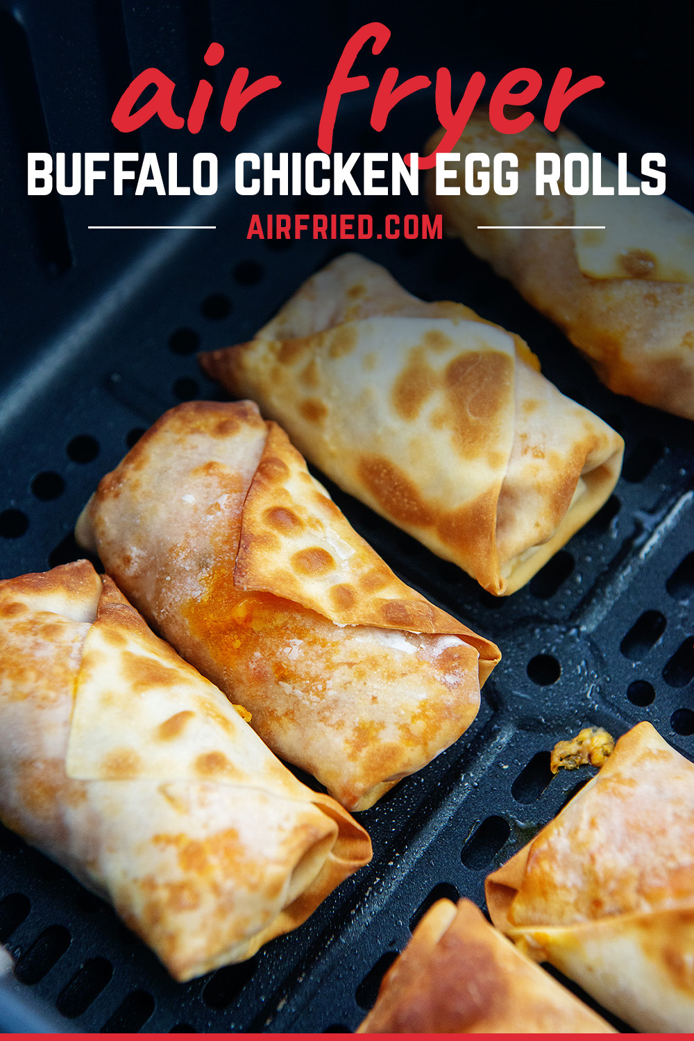 Buffalo chicken egg rolls are made with a mild buffalo chicken filling and air fried to a crispy shell.  These are a great, unique way to enjoy those  buffalo chicken flavors!