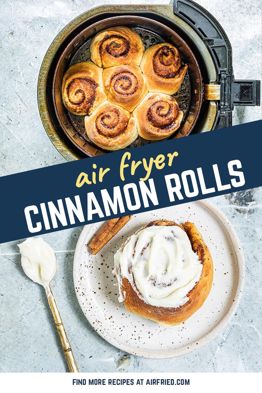 Our air fryer cinnamon roll recipe uses a homemade cinnamon roll dough.