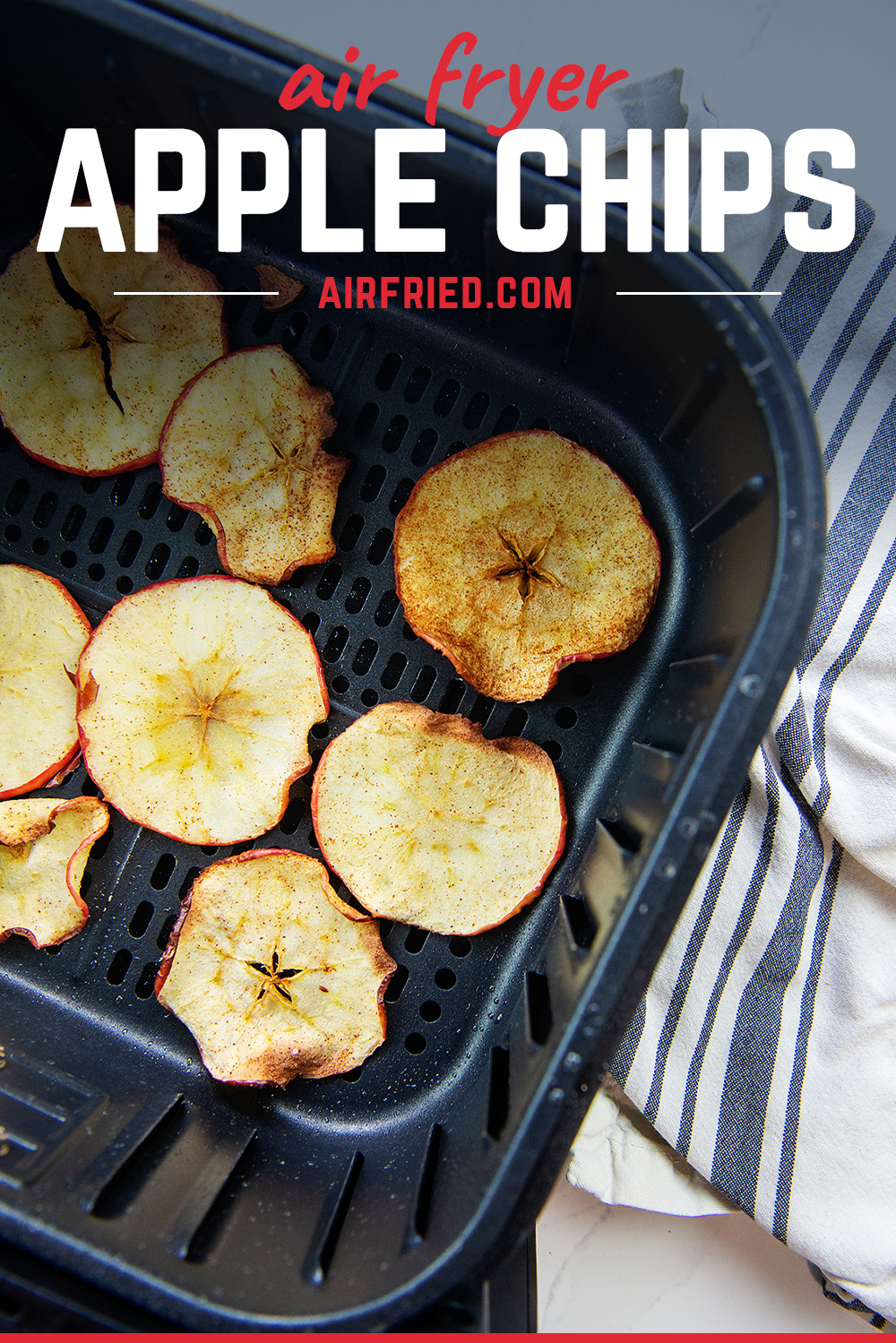 The best part of making your own apple chips is you can make them with as much cinnamon as you want!