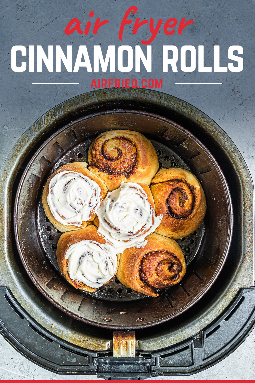 You can make your own cinnamon rolls in an air fryer.  This dough recipe works wonderfully with the air fryer to give you a nice, fluffy egg roll.