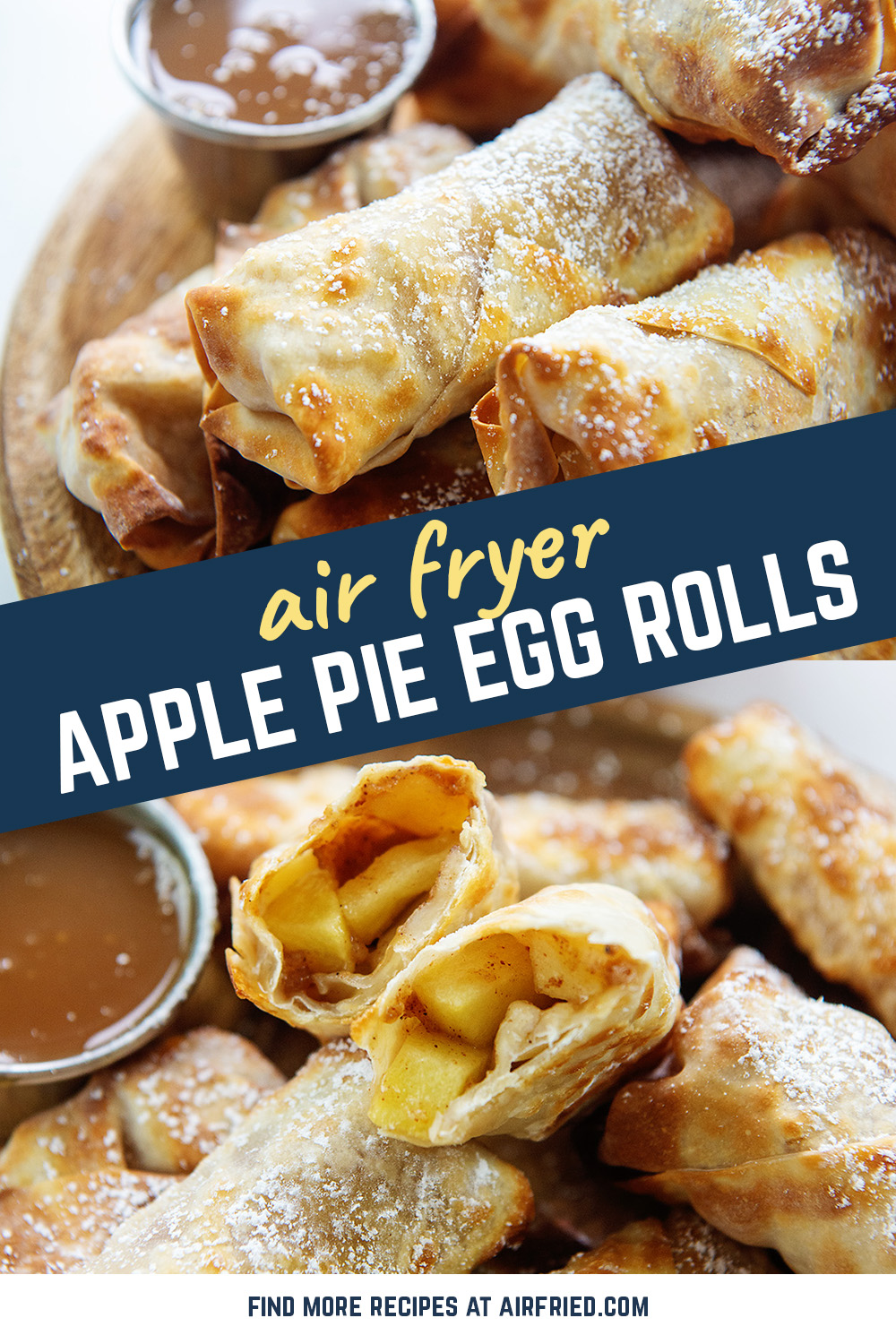 Our apple pie egg roll recipe uses the air fryer.  That makes these easy to make, crispy, and the filling is cooked perfectly.  This is so easy you can do it on a Wednesday!