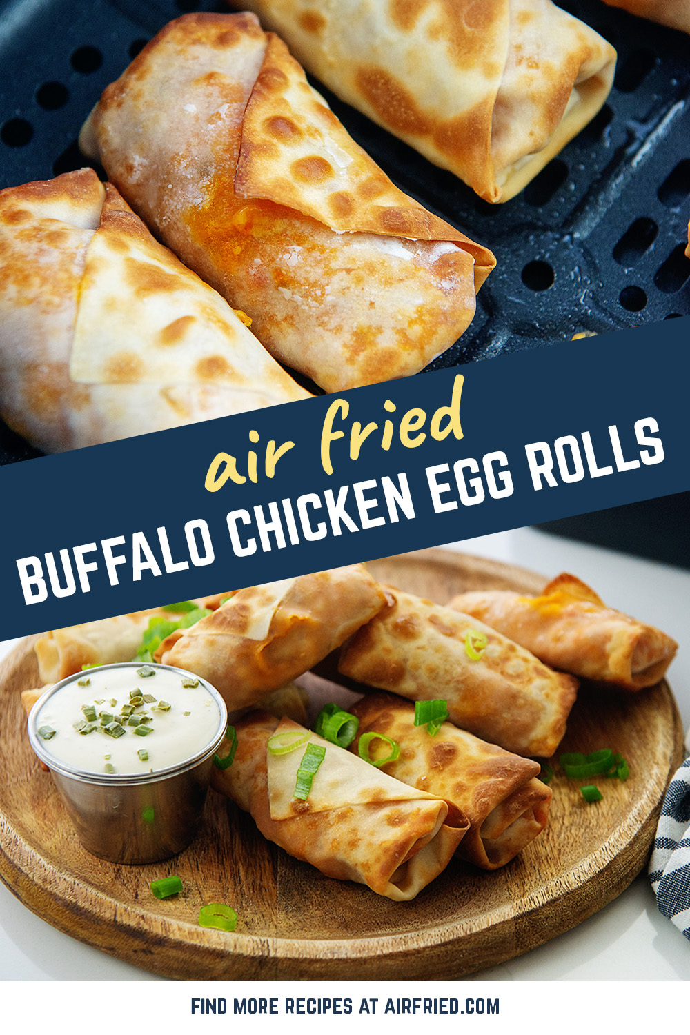 These mild buffalo chicken egg rolls are crispy on the outside and great for dipping into ranch dressing!