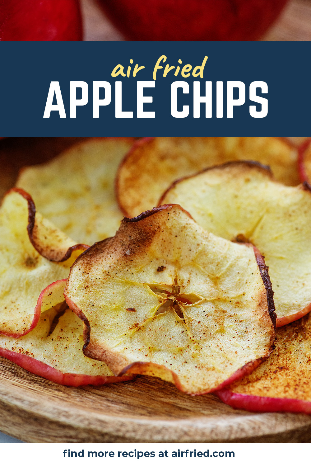 Our apple chips are coated with cinnamon and dehydrated in the air fryer!