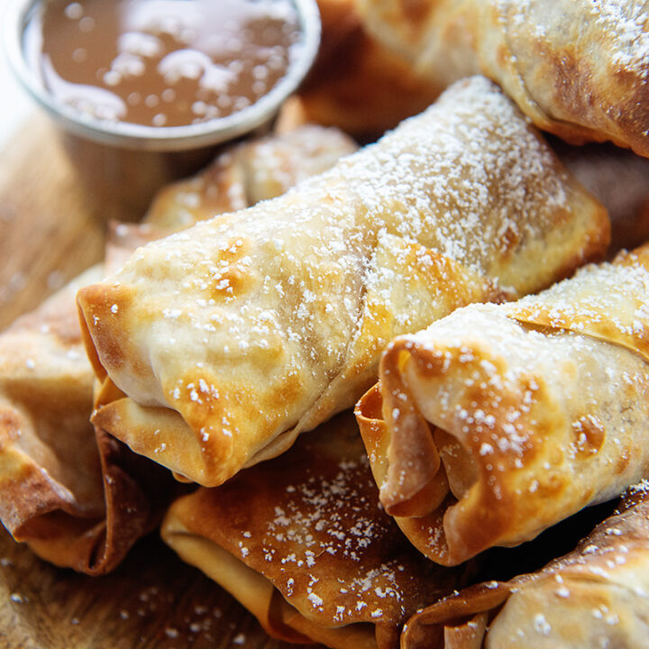 Close up of a pile of apple pie egg rolls
